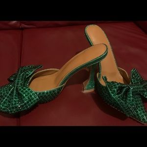 Shoes - Emerald Green Mules